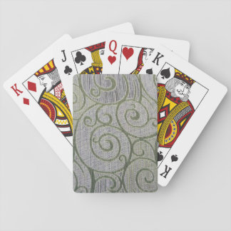 green spiral tapestry playing cards