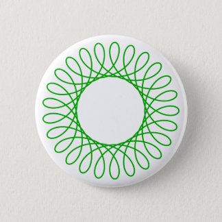 Green Spirograph 2 Inch Round Button