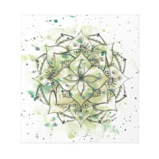 Green Splatter Mandala Notepad
