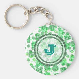 Green Spots Monogram Basic Round Button Keychain