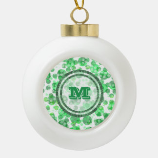 Green Spots Monogram Ceramic Ball Christmas Ornament