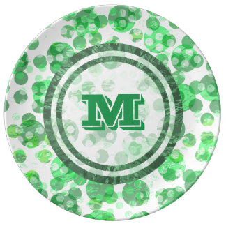 Green Spots Monogram Plate