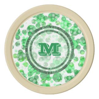 Green Spots Monogram Poker Chips