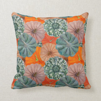 Green, spotted, orange and pink watercolor pumpkin throw pillow