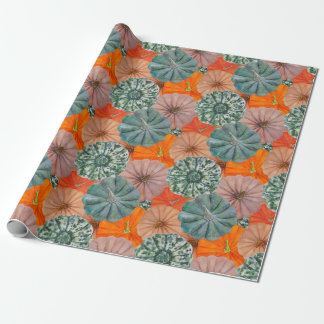 Green, spotted, orange and pink watercolor pumpkin wrapping paper