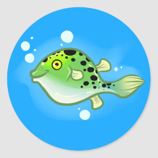 Green Spotted Puffer Classic Round Sticker