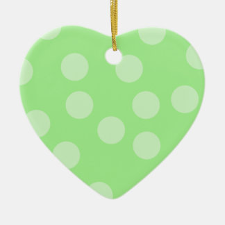 Green Spotty Pattern. Ceramic Heart Ornament