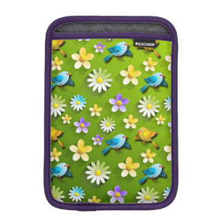 Green spring birds and flowers iPad mini sleeves