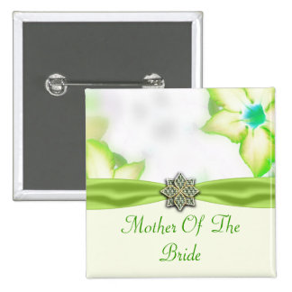 Green Spring Flowers Watercolor Wedding 2 Inch Square Button