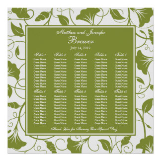 Green Square Wedding Reception Seating Chart Poster
