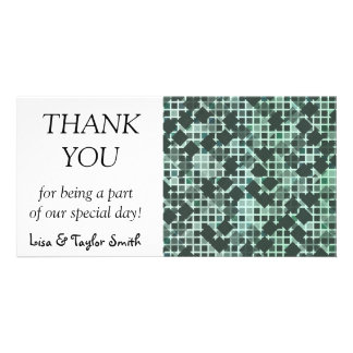 Green squares abstract design personalized photo card