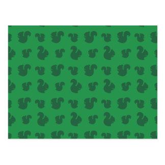 Green squirrel pattern postcard
