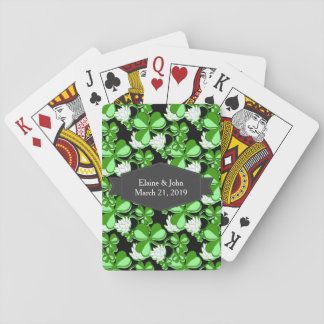 Green St. Patrick's Day Green Shamrock Ireland Poker Deck