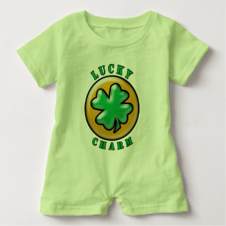 Green St. Patrick's Day Lucky Charm Clover Baby Romper
