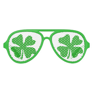 Green St Patricks Day shamrock party shades