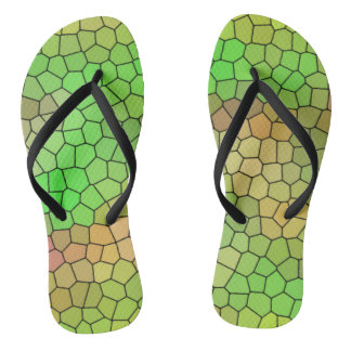Green Stained Glass Design Flip Flops