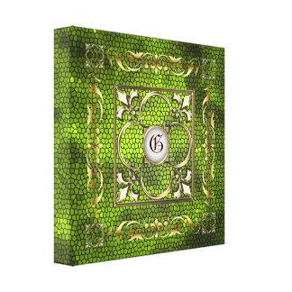 Green Stained Glass Monogram Fleur De Lis Canvas Stretched Canvas Prints