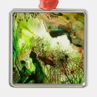 Green stained glass Silver-Colored square ornament