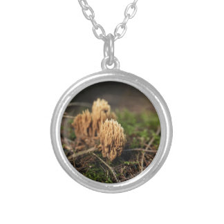 Green staining coral fungi (Ramaria abietina) Silver Plated Necklace