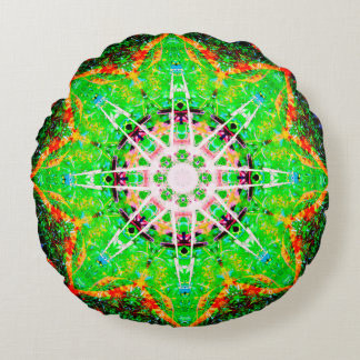 Green Star Mandala Round Pillow