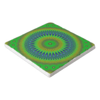 Green star mandala trivet