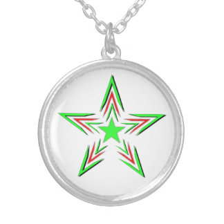 green star silver plated necklace