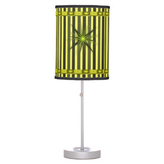 green star yellow black stripped lamp shade
