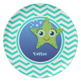 Green Starfish Aqua Green Chevron Plates