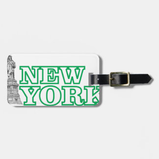 green statue of liberty art luggage tag