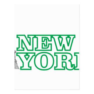 green statue of liberty art postcard
