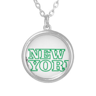 green statue of liberty art silver plated necklace