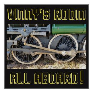 Green Steam Engine Train Wheels Poster