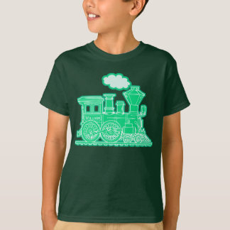 "Green steam loco train ""your name"" kids t-shirt"