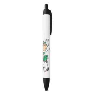 Green Stick Figure Cheerleader Black Ink Pen