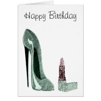 Green Stiletto Shoe and Lipstick Art Card