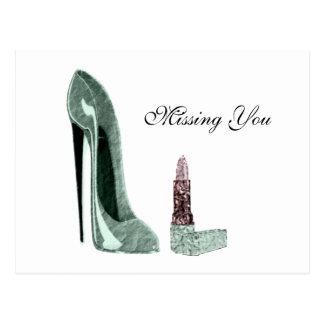 Green Stiletto Shoe and Lipstick Art Postcard