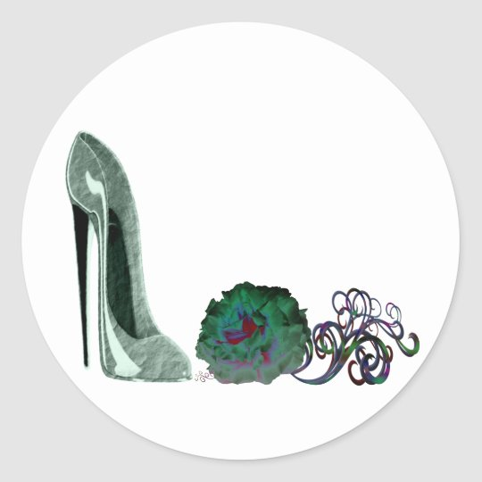 Green stiletto shoe and rose art classic round sticker