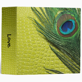 Green Still Life with Peacock Feather 3 Ring Binders