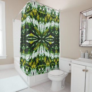 Green Stone Jewel Pattern Shower Curtain