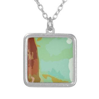 Green Stone Square Pendant Necklace