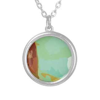 Green Stone Round Pendant Necklace