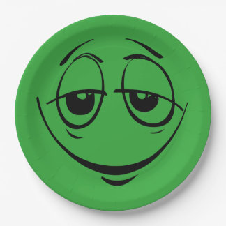 Green Stoned Eyes Smiley Face Funny Birthday Party 9 Inch Paper Plate