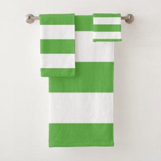 Green Stripe Bath Towel Set
