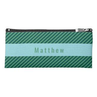 Green Stripe Patterned Custom Name Pencil Case