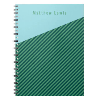 Green Stripe Patterned Customizable Name Notebook