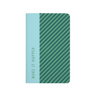 Green Stripe Patterned Customizable Pocket Journal