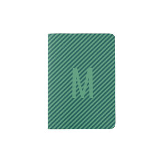 Green Stripe Patterned Monogram Passport Holder