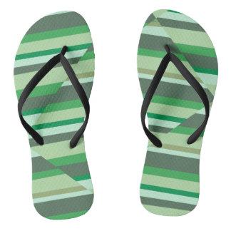 Green stripe sandals