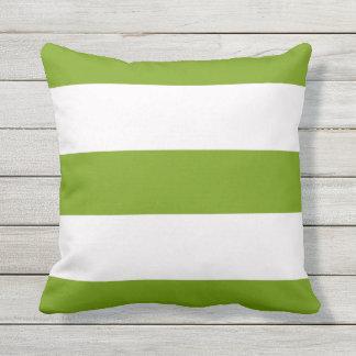 Green Stripe Striped Stripes Outdoor Throw Pillow