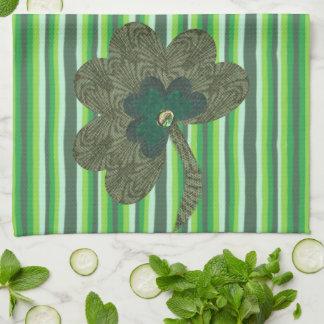 Green Stripe with Shamrock Kitchen Towel
